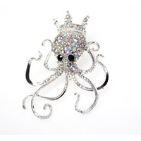 кристалл осьминога оптовых-20pc/lot Hot Sale New wholesale Clear rhinestone Crystal Octopus Brooch Pin Ocean Animal Brooch Pin Jewelry