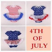 ingrosso vestiti 4 luglio-Infant Designer 4 vestiti delle ragazze Rosso Bianco abiti a strisce bambino luglio United State Independence Day pagliaccetti USA Flag Stampato Abbigliamento TL357