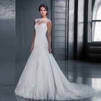 vestido de novia sin mangas con cuello alto de encaje al por mayor-Sirena vestido de novia de encaje blanco cuello alto sin mangas de cola de marfil personalizado vestido de novia de la novia