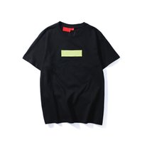 camisas de logotipo da marca venda por atacado-Marca de Moda de alta Qualidade Nova caixa de Cor logotipo Tripulação Pescoço T-shirt de Verão Novas Mulheres Dos Homens T Hip Hop T-shirt Ocasional