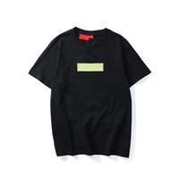 camiseta hip hop mans al por mayor-Marca de Moda de Calidad superior Nuevo logotipo de la caja de Color Cuello Redondo Camiseta Verano Nuevos Hombres Mujeres Camiseta Hip Hop Camiseta Casual