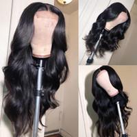 insan danteli peruk ipek üst yapışkan toptan satış-Ipek Üst Tam Dantel Peruk Doğal Saç Çizgisi Ile 4x4 Vücut dalga Bakire Brezilyalı İnsan Saç Ipek Taban Dantel Ön Peruk Tutkalsız Ağartılmış knot