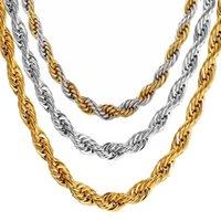 ingrosso collane hippie-Collana Hip Hop corda per gli uomini in acciaio oro bicolore colore spesso in acciaio inox Hippie Rock catena lunga / Choker gioielli di moda caldo