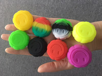 Wholesale dab face resale online - Non stick Container Reusable Silicone Rubber Jars Container For ml Wax Silicone Jars Dab Container With Smily Face