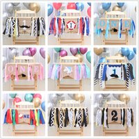 Wholesale cm birthday resale online - Baby Dining Chair Pulling Flag Linen Cloth Party st Birthday Decorative Articles Pull Flags Sell Well With Different Style jh J1