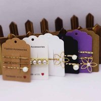 Wholesale best hair packs for sale - Group buy Feiluan custom x8 cm best seeling hair clip packing tag card Handmade with love print brown white decoration tag card