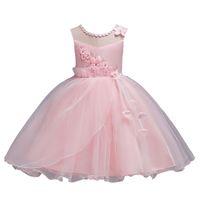 Wholesale fold boat for sale - Group buy Baby Girls Princess Dress Girls Performance Dress Bubble Skirt Flower Gauze Dress Fold Round Neck Sleeveless
