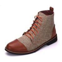 zapatos de cuero marrón para hombres al por mayor-MODA DISEÑO DE LUJO CUERO de tobillo de los hombres botas altas de grado superior del zapato con cordones vestido de los hombres ZAPATOS NEGRO MARRÓN BÁSICO Boots men 48 L14