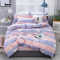 Wholesale white pink sheets black bedding resale online - 3 Single Printed Bedding Sets Cartoon lattice Pattern Bed Linen Polyester Duvet Cover Bed Sheet Pillowcases Cover Set