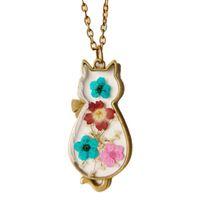 fleurs séchées vintage achat en gros de-Vintage fleur séchée main résine époxy collier fille chat pendentif cou femmes bijoux en bronze