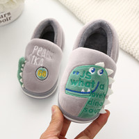 Wholesale animal shoes for children resale online - fashion kids slippers shoes cute little dinosaur animal cotton slippers for years child boys girls home slippers shoes