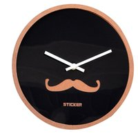 Wholesale circular wall lights resale online - Wooden Creative Moustache Wall Clock Simple Circular Wall Watch Quartz Mute Living Room Clock Christmas Gifts Clocks Needle
