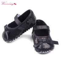 детская обувь оптовых-Kids Infant Baby Girl Bling Sequined Shoes Bow Decor Black Shallow Soft First Walker Prewalker