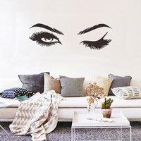 ingrosso murales sexy-Adesivi murali creativi per ciglia graziose Decorazioni per soggiorno in camera da letto per la casa Carta da parati Decalcomanie di arte Adesivi sexy