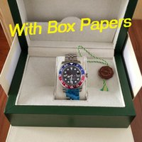 Wholesale blue box auto online - Luxury watch mm BLRO CHNR LN LN Pepsi gmt II Automatic watch Box papers movement mens watches watch watches