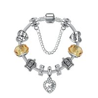 annelik aksesuarları toptan satış-18 19 20 21 CM Charm Anne Boncuk 925 Gümüş Bilezikler Kalp Kolye anneler Günü için bir hediye olarak Diy Takı Aksesuarları ile hediye kutusu