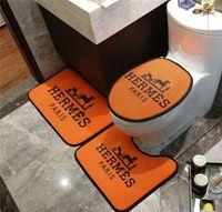 banho de laranja venda por atacado-Tapete laranja H Letra Cavalo Imprimir Tapetes De Banho 3 PCS Tipo Moda Não-slip Banheiro Tapete Para Homens E Mulheres