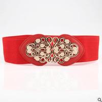 ультра широкий женский пояс оптовых-designer women belt retro sculpture flower decoration on the buckle ultra wide belt lady ethnic elastic belt