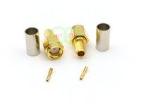 altın kıvrım toptan satış-Adaptör Altın kaplama RP-SMA erkek tak jack RG58 RG142 LMR195 RF için kıvrım
