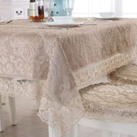 cubierta de la silla de comedor mantel al por mayor-Europa de lujo mantel bordado mesa de comedor cubierta de tela paño de encaje de café silla de la silla cojín cubierta