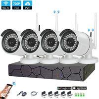 kits de câmera de segurança para casa venda por atacado-4 Pcs Casa Sistema de CCTV Sem Fio 4CH 720 P NVR 1.0MP IR Ao Ar Livre P2P Wifi IP À Prova de Intempéries nível 66 Kit de Vigilância de Sistema de Câmera de Segurança CCTV