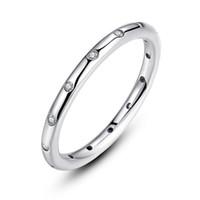 reine 925 silbercharme großhandel-Charm Ringe 925 Sterling Silber Ring reines Silber Rose Gold Gold Geburtstagsgeschenk Frauen Mädchen Hochzeit Schmuck mit Tasche oder Box