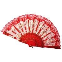 ingrosso ventilatori della mano del merletto spagnolo-Fan della mano del fiore della rosa 10 colori del partito del ventilatore di festa tenuto in mano piegante del pizzo spagnolo 50pcs OOA7041