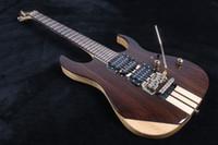 neue feste körpergitarren großhandel-Seltene 6 Saiten Solide Palisander Korpus Einteiler Body Hals durch Körper E-Gitarren Floyd Rose Bridge Tremolo Lock Saiten Mutter Neu