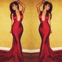 ingrosso sirena costello michael-2019 New Dark Red Michael Costello Abiti da sera a sirena Sexy aperto anteriore donne Prom Dresses Backless abiti formali Custom Made