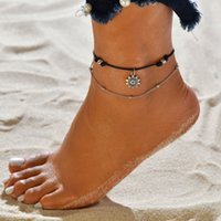 Wholesale boho beads resale online - Vintage Boho MultiLayer Bead Anklets For Women Fashion Sun Pendent Anklet Cotton Handmade Chain Foot Party Jewelry