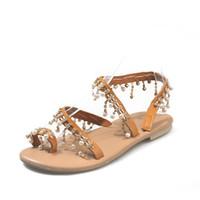 melhores preços de sapatos baixos venda por atacado-Mulheres Designer Sandálias Melhor Venda Artesanal Frisado Moda Clássico Sapatos de Praia Verão Sapatos Frete Grátis Preço de Fábrica Nova Chegada Da Moda
