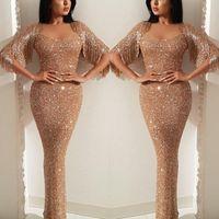 sereia lantejoulas ouro venda por atacado-2019 Ouro Lantejoulas Vestidos de Baile Sereia Tassel Querida Sparkly Formal Evening Vestido Pagenat Vestidos Custom Made Plus Size