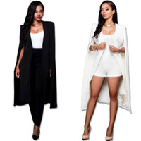 плюс размер белого пальто оптовых-Women Fashion Cape Cardigan Blazer Plus Size Loose Long Cloak Jacket Trench Coat Outerwear Blazers Black And White
