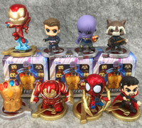 Wholesale china kid silicone doll resale online - American Film and Television Serial Silicone Toys Avengers Iron Man set Doll machine Lucky Egg Blind Box Gift Package For Kids HWJ02