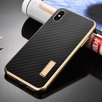 Wholesale aluminum metal bumper case cover resale online - Original iMatch Aluminum Metal Bumper Real Carbon Fiber Case For iPhone XS XS MAX Back Cover Luxury Phone Cases For iPhone X T191017