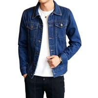 más el tamaño de chaquetas de jean azul al por mayor-Hombres Jean Chaquetas Azul oscuro Ropa negra Chaqueta de mezclilla Moda Hombre Jeans Chaqueta Thin Spring Outwear Hombre Cowboy Plus Size M-4 XL SH190904