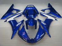 juegos de carenado r6 al por mayor-Kit de carenado azul blanco clásico para YAMAHA YZF R6 2004 2005 YZFR6 04 05 YZF-R6 04 05 Conjunto de carenados