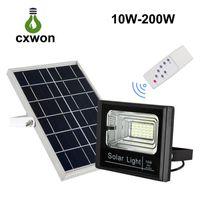 açık led avlu ışıkları toptan satış-Açık Güneş Sel LED Işık Su Geçirmez IP65 Duvar işık ile Akıllı Uzaktan için Güneş Enerjisi Spot Ev Bahçe Yard Çim Havuz işık