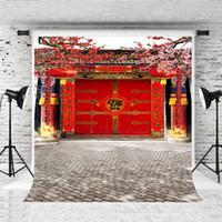 kulisse chinesisch großhandel-Traum 5x7ft Chinese Fortune Hintergrund für Familienporträt Fotografie Rote Tür Hintergrund Prop Kinder / Erwachsene Photo Booth Studio