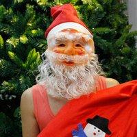 bonnets moustache achat en gros de-Père Noël Masque de Noël avec casquette chapeau tuques partie de mascarade masque drôle Cosplay moustache visage Masques de Noël Jouet LJJA3405-12