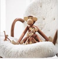 Wholesale monkey puppets resale online - Solid wooden monkey arm swing monkey puppet European Danish style decorative ornaments Children accompany toy monkeys