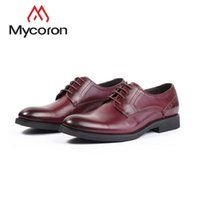 ботинки офисной обуви оптовых-MYCORON New  Fashion Genuine Leather Derby Shoes Men Boots Black Office Party Formal Dress Shoes Sapatos Masculinos