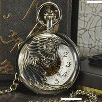 colar de relógio de bolso antigo de prata venda por atacado-TIEDAN Mecânica Pocket Watch Men Steampunk Luxo Cadeia Moda Antique Colar de Prata de esqueleto de bolso Fob
