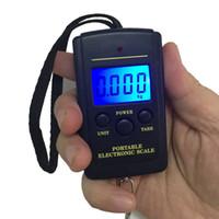 Wholesale electronic shops resale online - Blue Backlight Electronic Digital Scales kg g Shop Hanging Hook Pocket Scale Fish Lage Weight Balance Steelyard Black