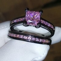 Wholesale pink topaz jewelry set resale online - 2017 Size Retro Jewelry kt black gold filled pink sapphire Gem women wedding simulated Diamond Wedding Ring set gift