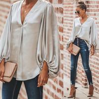 blusas largas sueltas de gasa al por mayor-Capa de la manera cuello en V manga larga de las mujeres camisa ocasional otoño sólido tapas flojas blusa de la gasa de la manga globo Ropa
