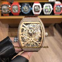 yat saatleri toptan satış-Marka Yeni Saratoge Vanguard Yatçılık GRAVITY V45 T GR YACHT SQT Sarı İskelet Dial Otomatik Erkek İzle Simli Elmas Durumda Kauçuk Kayış