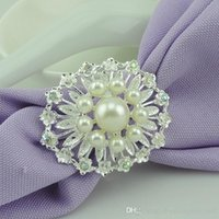 Wholesale flower napkin rings weddings resale online - hot sell DLM2 flower Imitation pearls gold silver Napkin Rings for wedding dinner showers holidays Table Decoration Accessories wn547 PC
