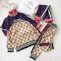 çocuklar için giyim giysileri toptan satış-Ücretsiz Nakliye için Çocuk Spor Suit Bahar Güz Seti VETEMENT Garcon Bebek Ceket + pantolon Bebek Giyim Bebek Giyim