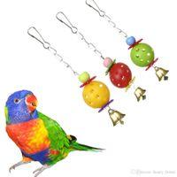 kuş ürünleri toptan satış-Papağan Oyuncaklar Pet Kuş Isırıkları Tırmanmaya Chew Oyuncaklar Parakeet Budgie Asılı Salıncak Çan Ile Pet Oyuncak Malzemeleri Ürünleri Kuş Malzemeleri